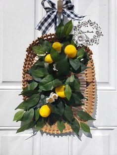 Lemon Basket for Front Door Lemon Decor Lemon Wreath Kitchen Basket Citrus Wreath Wall Decor Wreaths Poppy Wreath, Tulip Wreath, Summer Wreath, Summer Swag, Tobacco Basket Decor, Lemon Wreath, Kitchen Baskets, Outdoor Wreaths, Yellow Tulips