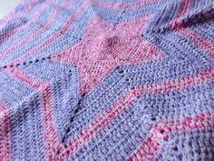 Pink and Purple Star Crochet Blanket - by HookedupbyAnge on madeit