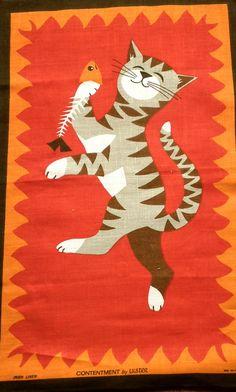 Vintage Cat Tea Towel   Irish Linen  Mid Century by TwoTimeVintage
