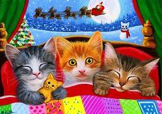Three Little Christmas Kittens Cat Christmas Cards, Christmas Desktop, Hello Kitty Christmas, Christmas Scenes, Christmas Animals, Reindeer Christmas, Christmas Eve, Holiday, Les Moomins