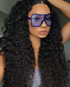 High Quality Brazilian Curly Human Hair Lace Front Wigs soft, healthy, no smell, tangle-free, no shedding. Curly Hair Styles, Natural Hair Styles, Fashion Eye Glasses, Cute Glasses, Black Girls Hairstyles, Lace Front Wigs, Foto E Video, Sunglasses Women, Trending Sunglasses