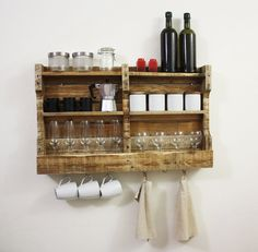 Gorgeous rustic shelf  for cups, jars, spices etc.  and hooks for hanging cups or towerls