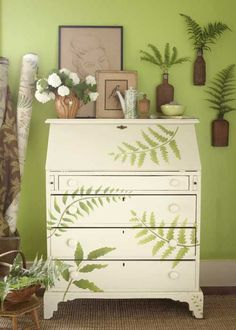 cream desk with painted green fern design
