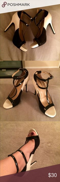 Sole Society Black & Cream heels Black and cream like new heels. Worn once to a wedding. They fit a little big on me since I'm closer to a 6. The left heel has a small scuff mark. Not very noticeable. 4 inch heel. Sole Society Shoes Heels