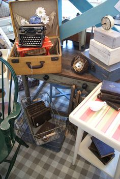 cute - type writer in suitcase