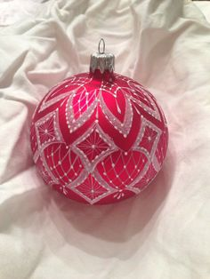 Hand painted Lace Christmas Ornament Christmas Red color.