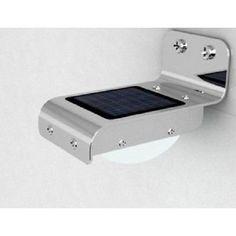 Solar Wholesale PIR Sensor Wall Mount Stainless Steel Solar Light; 16 White LEDs; outdoor Light