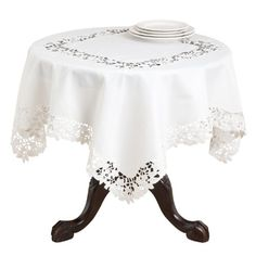 SARO LIFESTYLE 109 Classic Cutwork Design Square Tablecloth 80Inch Ivory -- Check out this great product.