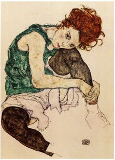 Seated Woman With Bent Knee - Egon Schiele - Protégé of Gustav Klimt, and a major figurative painter of the early century. The twisted body shapes that characterize Schiele's paintings and drawings make the artist a notable exponent of Expressionism. Art And Illustration, Gustav Klimt, Art Amour, Figurative Kunst, Ouvrages D'art, Art Design, Interior Design, Love Art, Oeuvre D'art