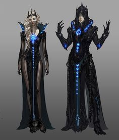 Fantasy electric blue male and female