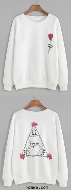 White Rose Print Dropped Shoulder Seam Sweatshirt