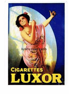Y80 SINGLE swap playing cards ART DECO CIGARETTE SMOKING ADVERT Luxor Lady