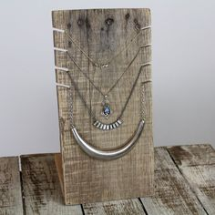 Rustic Necklace Display Stand - Barn Wood / Distressed / Craft Show / Boutique Jewelry Rack by KaizenWoodworks on Etsy