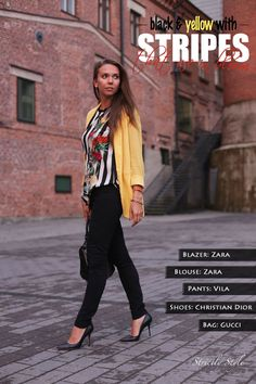 yellor blaxer stripes black trousers black stillettos outfit strictlystyle