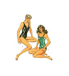 Kwik Sew 1220 Retro Women's Swimwear: One Piece Swimsuit in Two Styles, Uncut, Factory Folded, Sewing Pattern Multi Size Women's Swimwear, Swimsuits, Kwik Sew, Bodysuit Lingerie, One Piece Swimsuit, 1980s, Sewing Patterns, Retro, Stuff To Buy