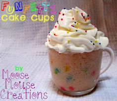 Funfetti Cake Cups. Single Serving: 2 Tbsp cake mix and 1/2 oz (1Tbsp) diet soda, reduce the microwave time to 30 seconds