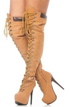 Tan Faux Nubuck Stylish Thigh High Chunky Platform Boots