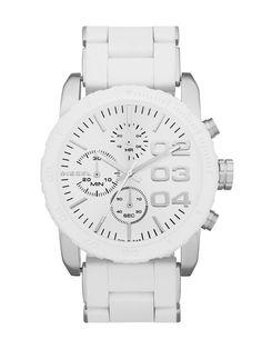 Diesel Women's DZ5306 Double Down 42 White Silicone Analog Quartz Watch