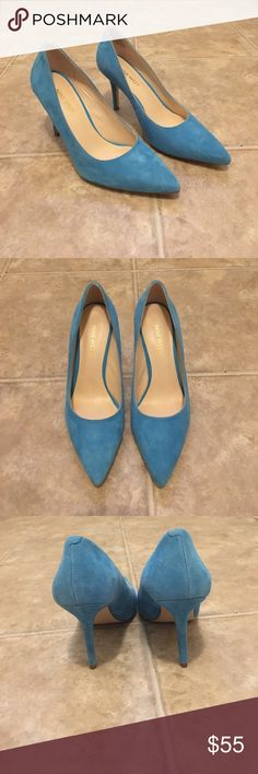 Tiffany Blue Suede Nine West Pumps Gorgeous gently worn Suede pointed toe pumps from Nine West. Size 7.5. Beautiful Tiffany blue perfect for spring and summer outfits! Make an offer! Nine West Shoes Heels