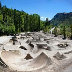 Gorge Road BMX Jump Park. This awesome photo of the Gorge Rd MTB/BMX jump park by local photographer Miles Holden (http://www.milesholden.com/) was posted to the Vital MTB facebook page (https://www.facebook.com/photo.php?fbid=10150671226316060=a.214534811059.164976.127066331059=1). More info here: http://www.queenstownmtb.co.nz/2012/02/15/gorge-rd-jumps-goes-viral/  and  http://www.thefancy.com/things/292628961/Gorge-Road-BMX-Jump-Park