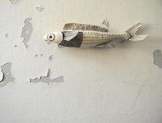Blanc de poisson, poisson décoratif, ornement Textile, broderie poissons, poissons Decor, poisson noir et blanc, souples