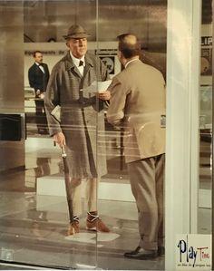 PLAYTIME Tati dans son film, 1967  5 grands tirages couleur montés sur cartons, étiquette du film sur l'image Env. 39 x 49 cm  Collection de Madame X