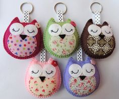 Wholesale Owl Keyrings / Handbag Charms x5