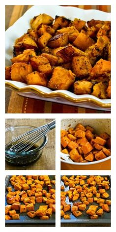 Easy but amazing recipe for Roasted Butternut Squash with Rosemary and Balsamic Vinegar; this is something I've been making for years. You can even use pre-cut squash cubes if you're short on time. [from KalynsKitchen.com] #ButternutSquash #Paleo
