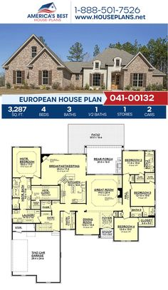 Complete with darling European features, Plan 041-00132 details 3,287 sq. ft., 4 bedrooms, 3.5 bathrooms, split bedrooms, a keeping room, and a bonus room. #europeanhome #architecture #houseplans #housedesign #homedesign #homedesigns #architecturalplans #newconstruction #floorplans #dreamhome #dreamhouseplans #abhouseplans #besthouseplans #newhome #newhouse #homesweethome #buildingahome #buildahome #residentialplans #residentialhome European Plan, European House Plans, Best House Plans, Dream House Plans, Building Plans, Building A House, Keeping Room, Square Feet