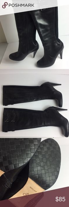 Cole Haan Nike Air Black Heeled Leather Boots Like new condition. With Nike air technology which makes them very comfortable Cole Haan Shoes Heeled Boots