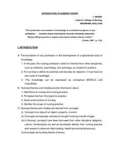004 Nursing Theories and Nursing Models Nursing Theory