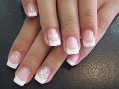 French tip with subtle detail- I'm going to try this by using a toothpick for the very thin lined detail