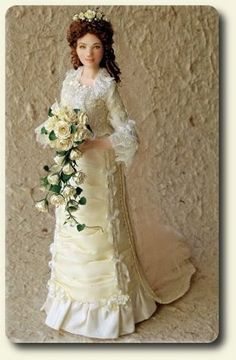 Porcelain bride doll, hand painted and dressed miniature doll by CDHM and IGMA Artisan Elisa Fenoglio