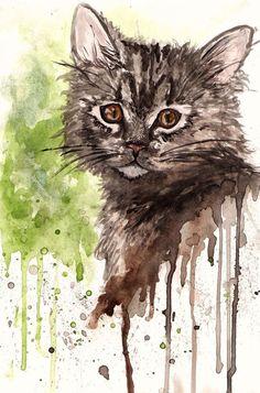 Watercolour Cat by ~MelpomenesMask on deviantART