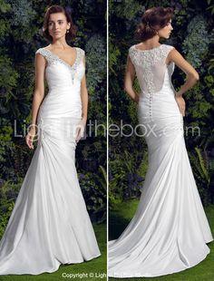 Trumpet/Mermaid V-neck Court Train Charmeuse Wedding Dress (1611804) - EUR € 171.91