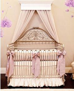 Little Crown Interiors Orchid Lilac Silk Crib Bedding Set - as seen in Mel B's nursery!