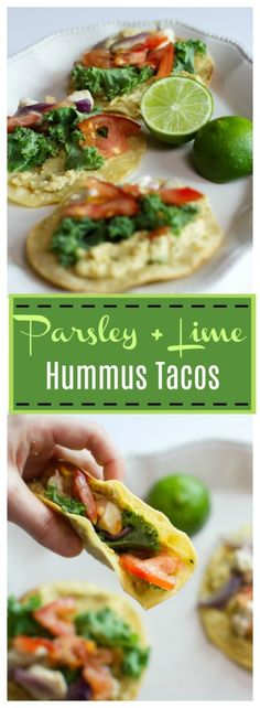 Parsley Lime Hummus Tacos Pin- The summery flavors of lime & parsley melded with creamy hummus, caramelized onion, and skillet chicken--amazing! Let me know how yours turns out!
