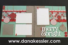 Two Page Scrapbook layout Christmas Holidays Sparkle & Shine #ctmh #scraptabulousdesigns #scrapbooking