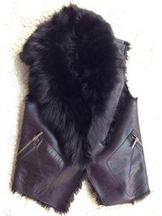 BCBGMAXAZRIA Black Shearling Leather Vest with Fox Fur