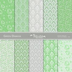 Green Damask, Digital Scrapbook Paper Pack, 12x12, for Personal or Commercial Use.