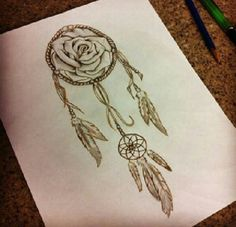 Dream catcher rose tattoo art scetch.. want something like this just not sure exactly what!
