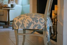 """Removable slipcovers for the dining room. This is exactly what I need for my messy toddler who insists on using the """"big girl"""" chairs."""