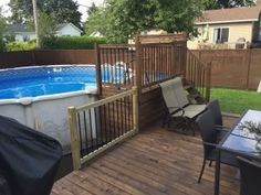 Patios & decks piscine - Patio Bois Traité