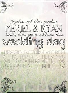 Custom printable photo wedding invitation