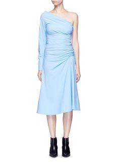 EMILIO PUCCI Ruched One-Shoulder Cotton Poplin Dress. #emiliopucci #cloth #dress