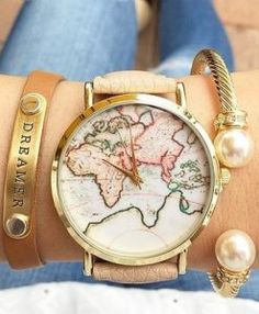 Montre carte monde 2017 beige