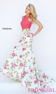 Coral Floral Print Sherri Hill Two Piece Dress at PromGirl.com
