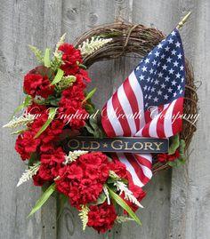 Patriotic Wreath, Americana Wreath, Fourth of July Decor, Memorial Day, Veteran's Day, Summer Floral, Designer, American Flag Wreath