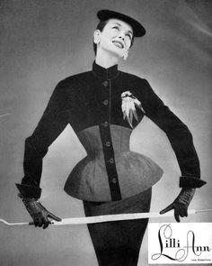 1954 Dorian Leigh in a Lilli Ann ad, Harpers Bazaar