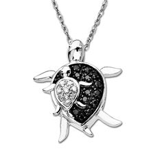 Enhanced Black and White Diamond Mother Turtle and Baby Turtle Pendant in 10K White Gold - View All Necklaces - Zales